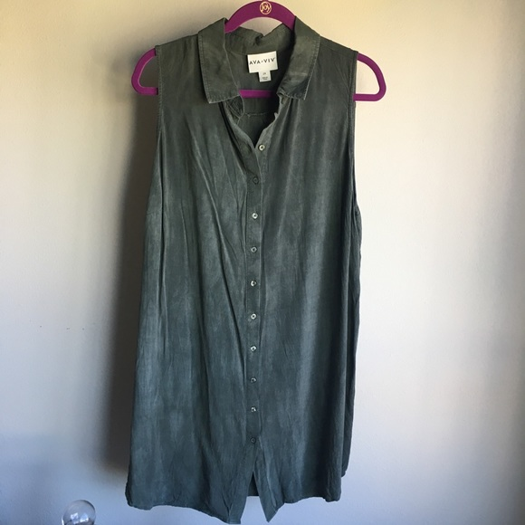 Ava & Viv Tops - Forrest Green Collared Tunic